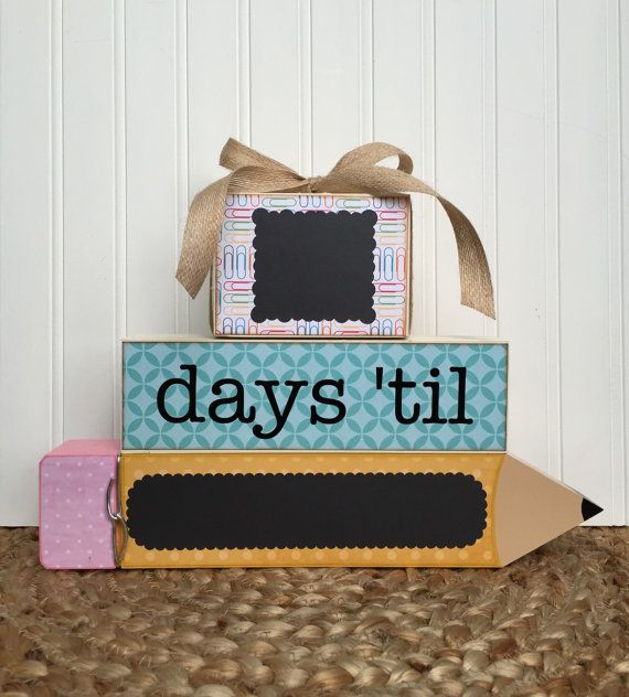 Pencil Teacher gift, Countdown blocks, Classroom event countdown