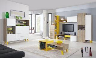 Detská izba Sajmon D červený smrek/biela/žltá