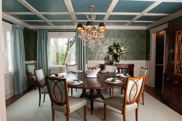 PEACOCK DINING ROOM - Inspired by James McNeill Whistler's Peacock Room; Theodore Alexander Table; Kindel Chairs; Jim Thompson Custom Drapery Panels; Stroheim Drapery Rods with Acanthus Finials; Cole & Son Wallpaper; Liepold Design Group LLC
