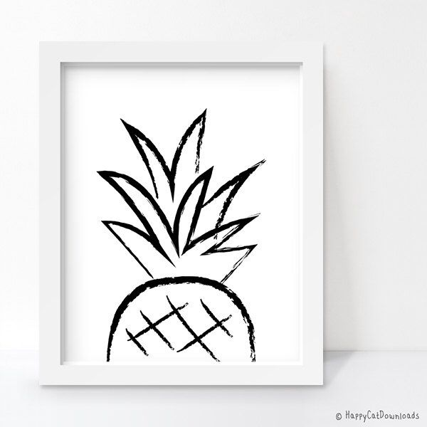 Pineapple Print, Pineapple Decor, Black and White Art, Minimalist Poster…