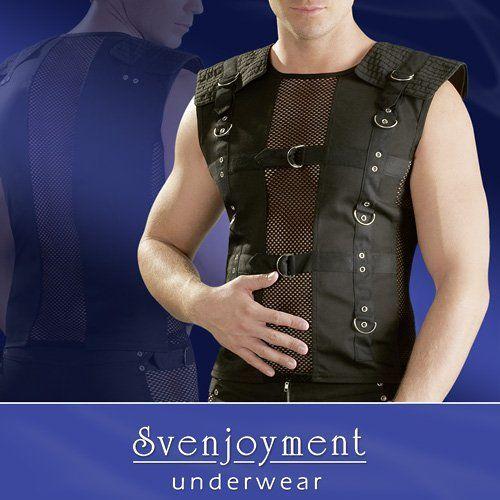 Miesten musta paita. Tämä paita on näyttävä asu vaikka rocktähdelle. Koristeena metallisolkia ja verkkomateriaalia.Materiaalit: 50% polyester, 35% cotton, 15% polyamide.