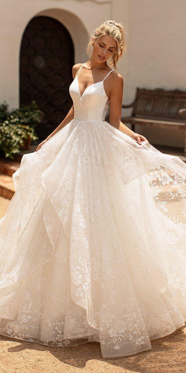Purple Wedding Dress,Princess A-line Spaghetti Straps Wedding Dress Tulle Skirt,Scoop Back Boho Wedding Dress With Chapel Train,Custom Dress