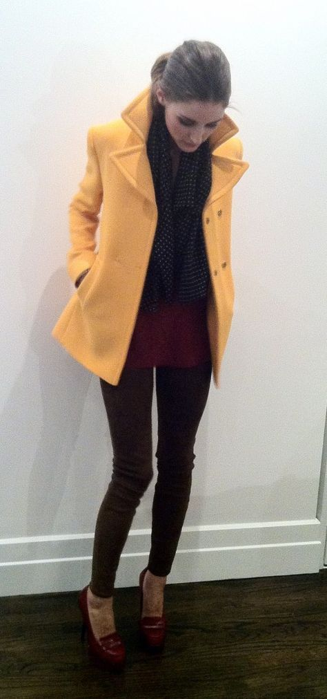 Olivia, in an Alberta Ferretti Jacket, DarylK suede Leggings and Carvela shoes. Camisole and scarf, from her vintage collection