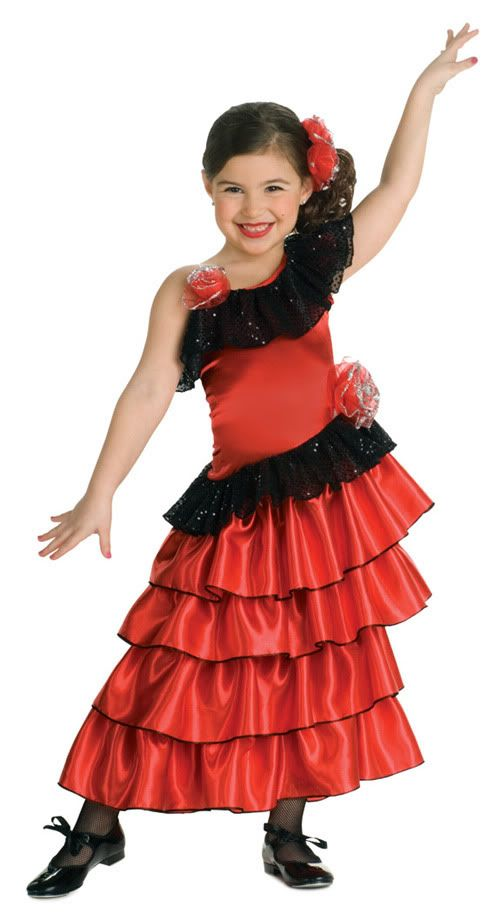 SPANISH MEXICAN PRINCESS FLAMENCO DANCER HALLOWEEN COSTUME Dress Child