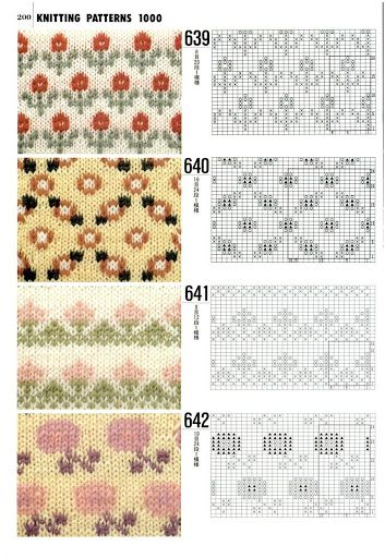 "#Knitting_Stitches - ""So sweet patterns with charts for Fair Isle type knitting…"