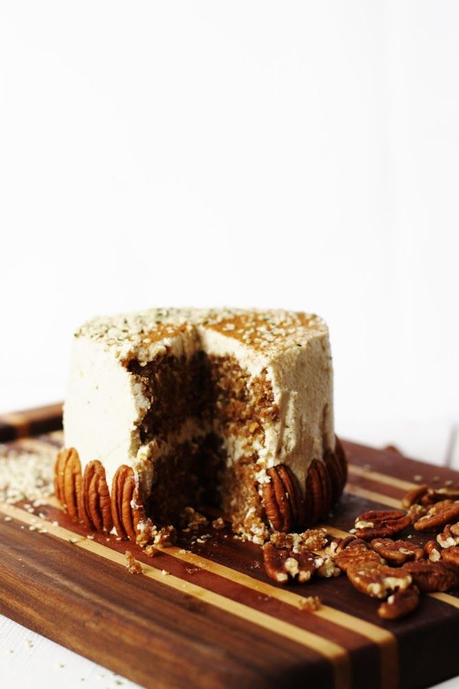 oat & pecan cake with vanilla ginger frosting