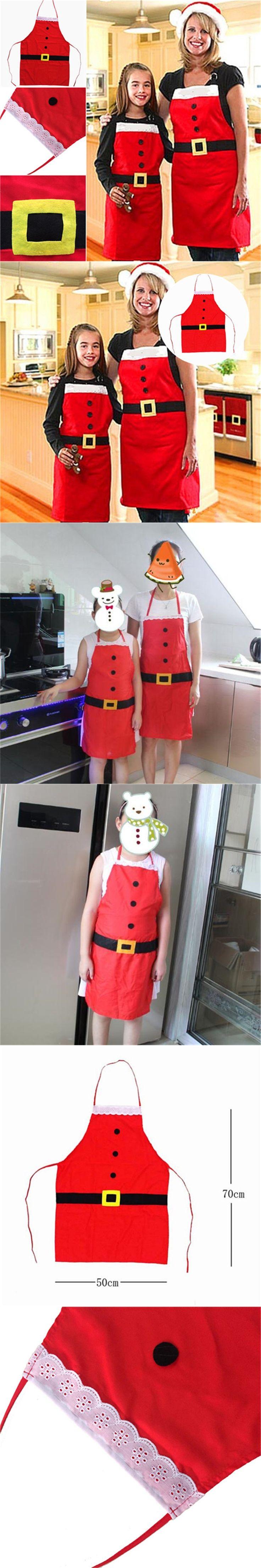 EatingBiting(R) Christmas Decoration Santa Apron Home Kitchen Cooking Baking Chef Red Apron