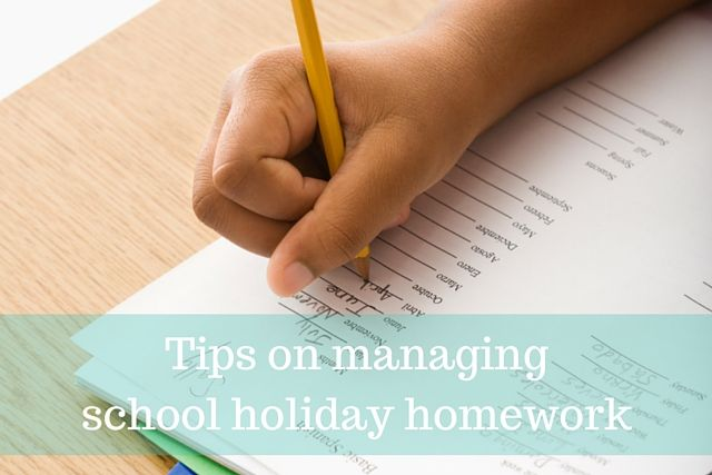 Tips on managing school holiday homework