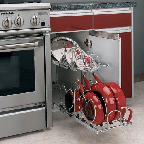 We could use this in our kitchen pretty badly -Two-Tier Cookware Organizer - contemporary - cabinet and drawer organizers - Rockler