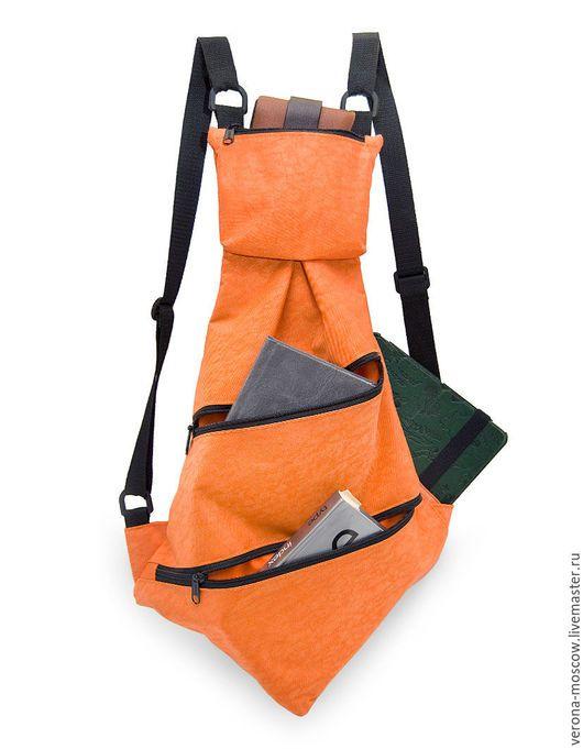 """Рюкзаки ручной работы. Ярмарка Мастеров - ручная работа. Купить Рюкзак """"Стильный оранжевый галстук"""". Handmade. Оранжевый, синтетическая ткань"""