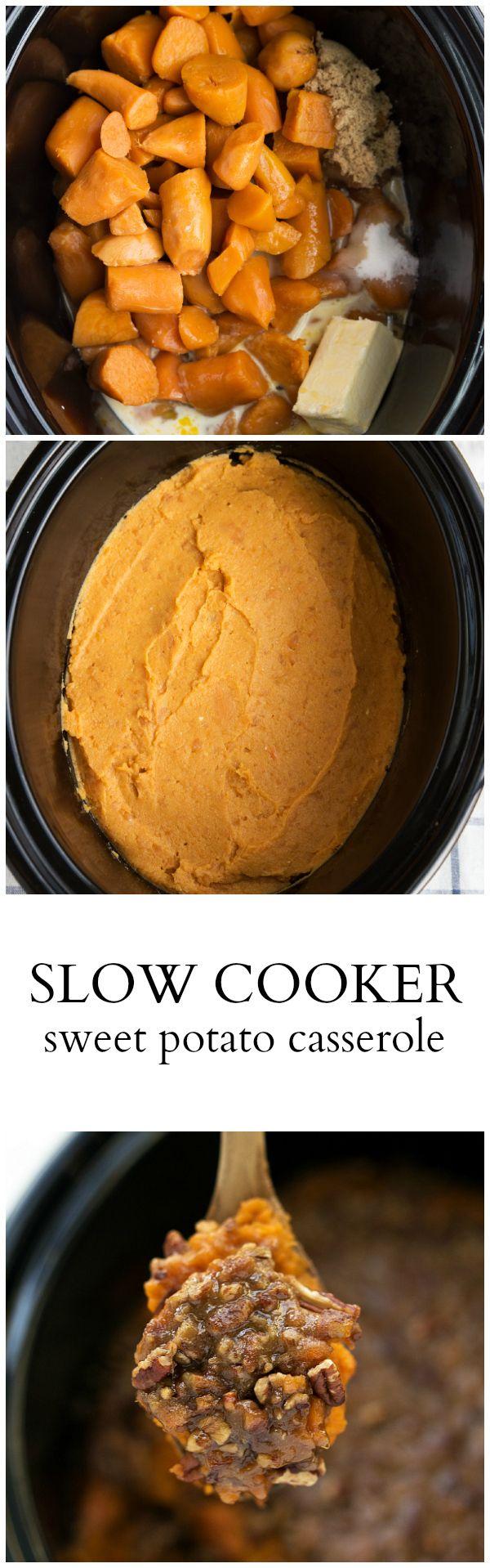 10 minutes prep, made completely in your CROCKPOT! {Slow Cooker} Sweet Potato Casserole #crockpot #sweetpotato #thanksgiving #sidedish #casserole