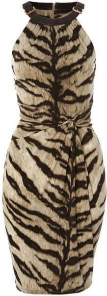 Michael By Michael Kors Sleeveless Tiger Print Dress with Buckle Neckline in Beige (cream) | Lyst