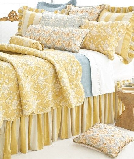 Pine Cone Hill Madeline Stripe Gold Bedskirt