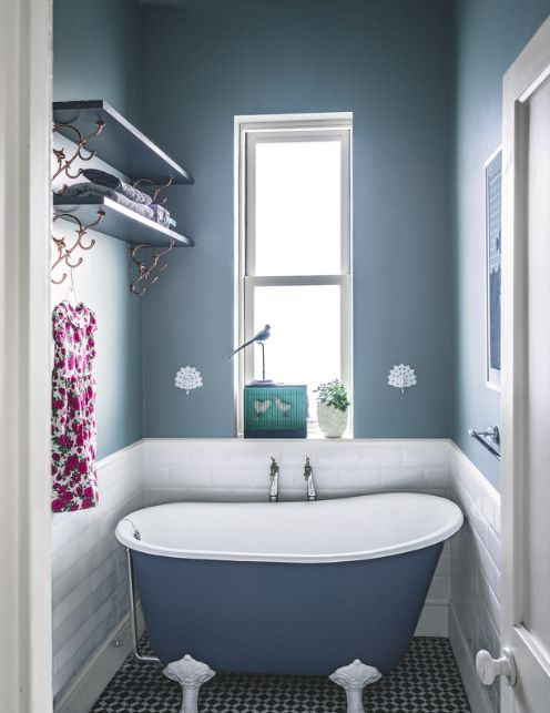 Bathroom Clever Design Compact Bath Metro Tiles Blue Decorative Flooring