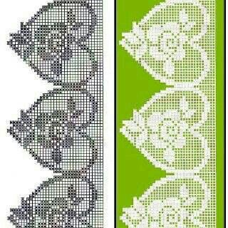 Filet crochet lace heart edging