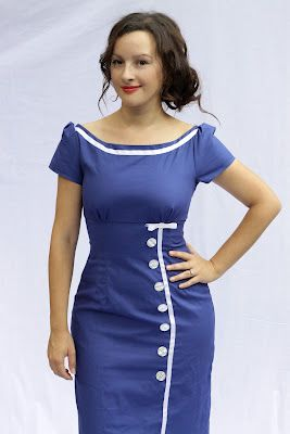 cute blue dress,love Julia Bobbin's blog.