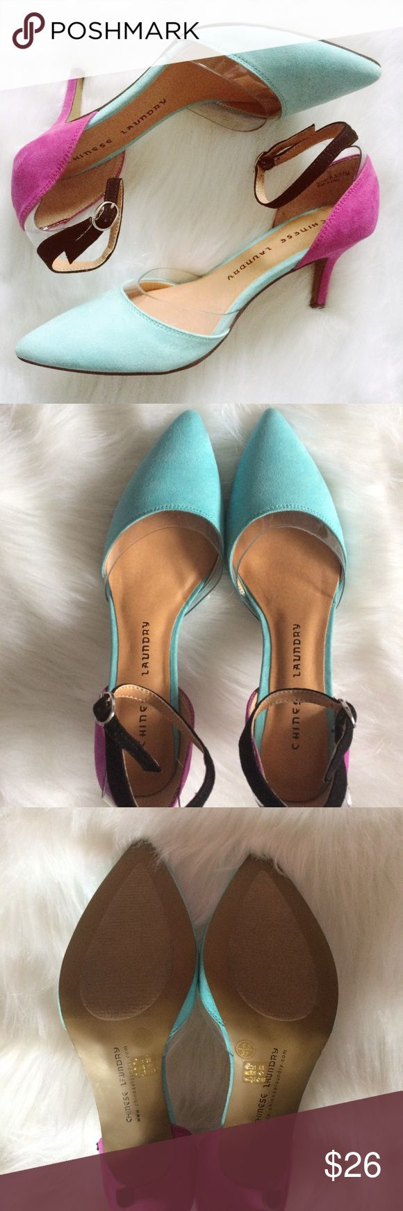 Chinese Laundry Pointed Toe Kitten Heels Stunning turquoise and violet pointed toe kitten heels by Chinese Laundry. The gorgeous design has a clear lining on the front and back with a sleek black strap. Size 6.5/37M. Never worn but a few marks from try ons in store. There's a mark on the inner side of the left shoe. Please see photo. Not very noticeable because it's not on the outer side of heel. Chinese Laundry Shoes Heels