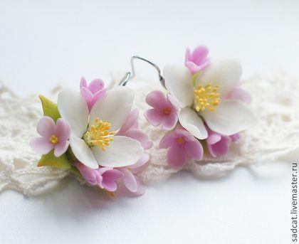 Серьги с жасмином и сиренью - цветы из полимерной глины,бижутерия с цветами