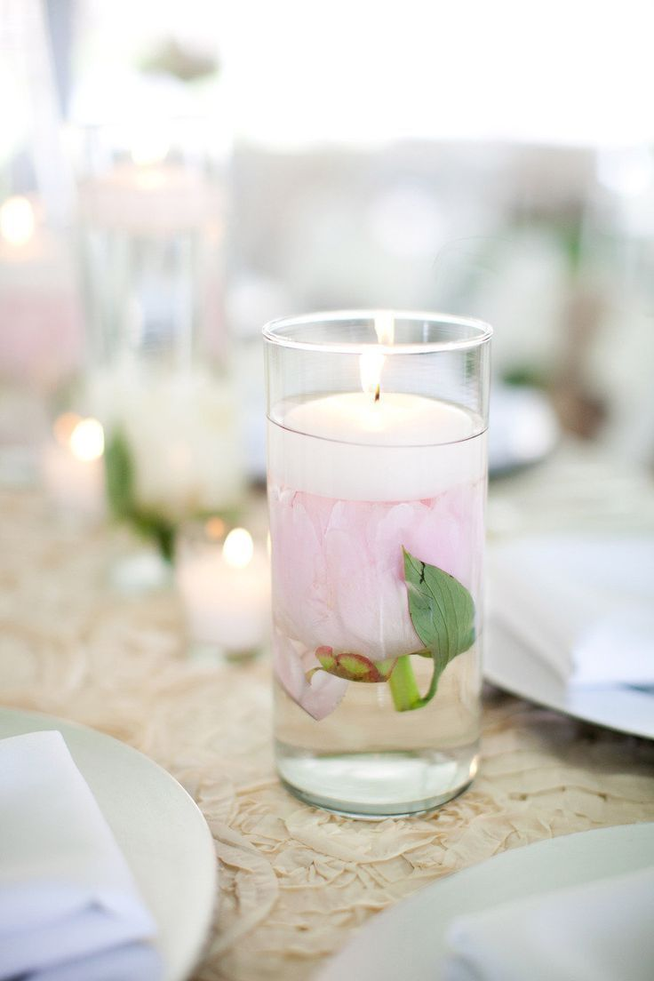 Peony Candle Centerpiece : Bright and colorful peony centerpieces