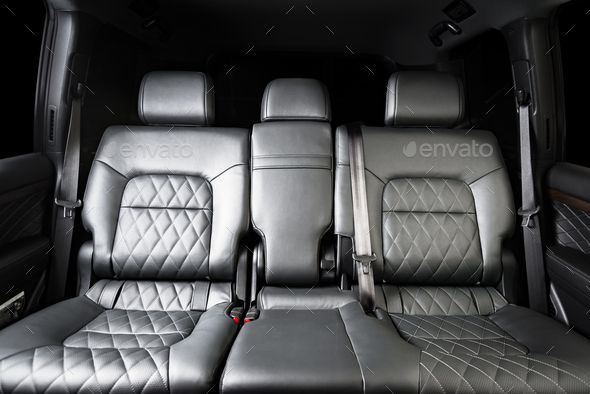 Back Seats Of Modern Luxury Car Interior Black Leather In 2020 Luxury Car Interior Car Interior Modern Luxury