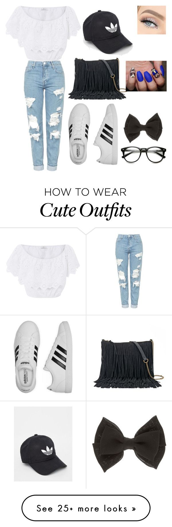 """cute first day outfit ❤️"" by fashionhoe21 on Polyvore featuring Miguelina, Topshop, adidas and SONOMA Goods for Life"