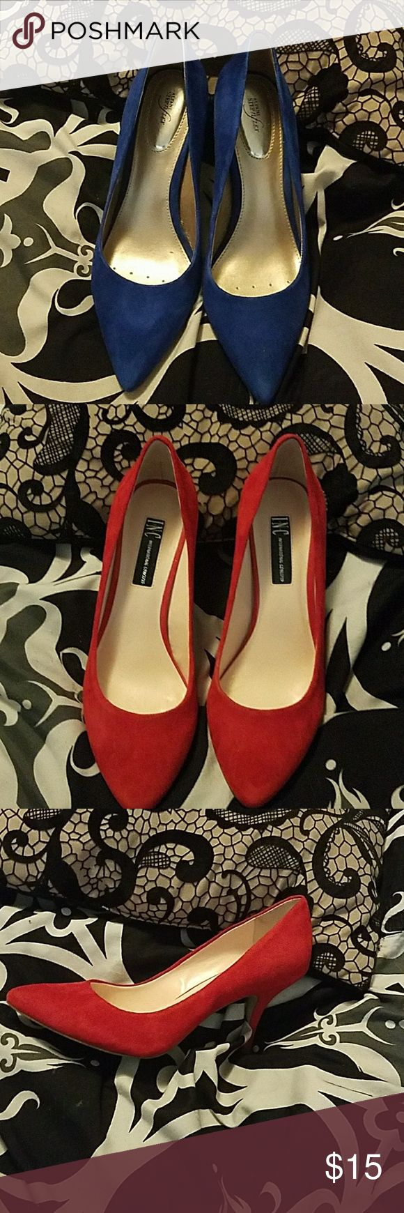 3 inch Blue and Red Pumps Both are Size 8 Nice pumps heels are not sky high, but a good height if you really dont want a high heel and you have to walk or stand . Heel are 3 inches and you get both as a bundle deal! Shoes Heels