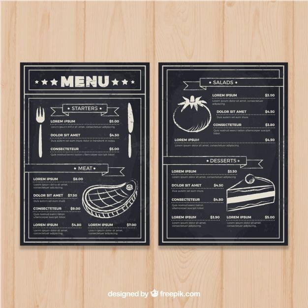 Restaurant menu template in blackboard style Free Vector