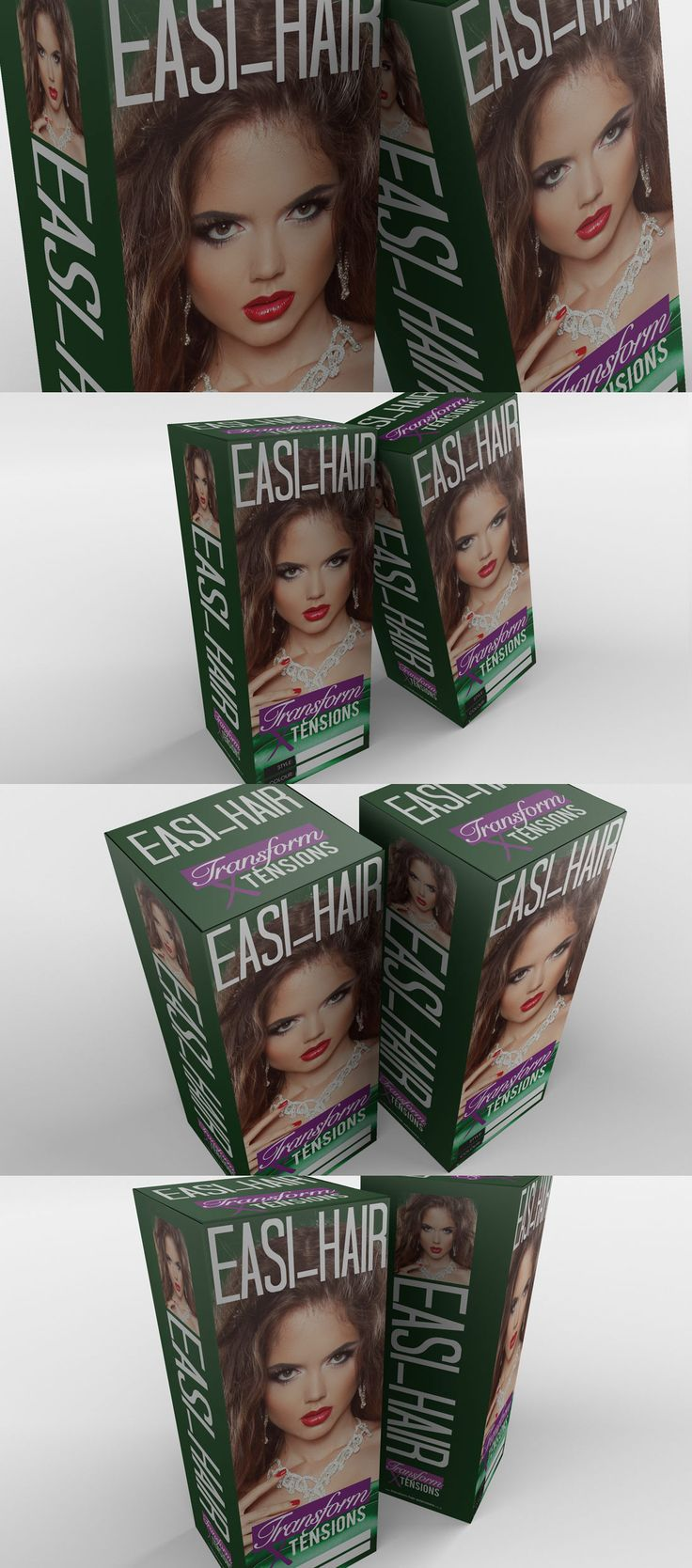 #Packaging design for Transform #HairExtensions variant brand Easi-Hair by freelance graphic designer Darren McChrystal. I created the packaging box from scratch and helped source stock imagery for inclusion on the box as well as designing a bespoke logo design for their startup hair extensions brand.