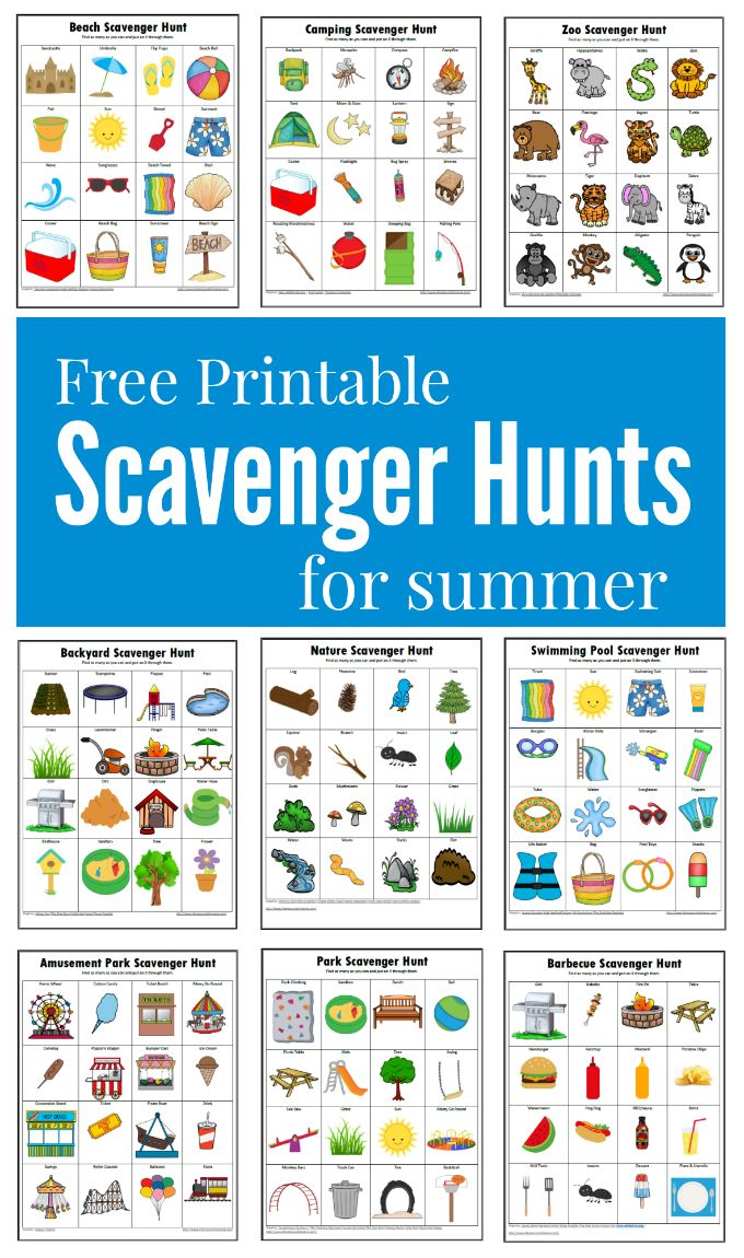 Free printable fun filled summer themed scavenger hunts for kids