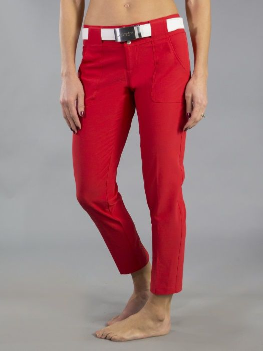 """Check out what #lorisgolfshoppe has for your days on and off the golf course: Red Barossa (Lipstick) JoFit Ladies 28"""" Inseam Belted Cropped Golf Pants"""