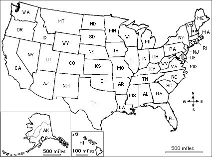 Johnny Appleseed Geography Quiz Printout (USA Labeled) -ZoomSchool.com