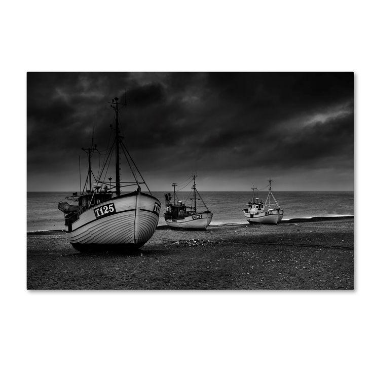 Niels Christian Wulff 'Beach Fishing' Canvas Art