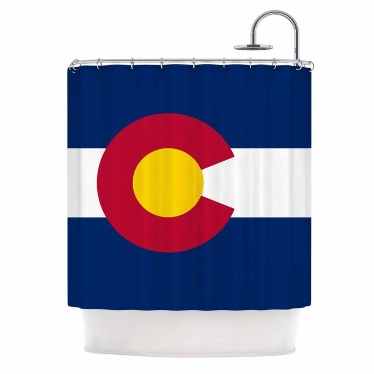 "Kess InHouse Bruce Stanfield ""Flag of Colorado II"" Blue Red Shower Curtain"