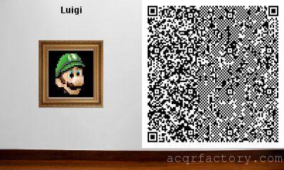 Luigi Portrait Animal Crossing New Leaf Qr Code Animal