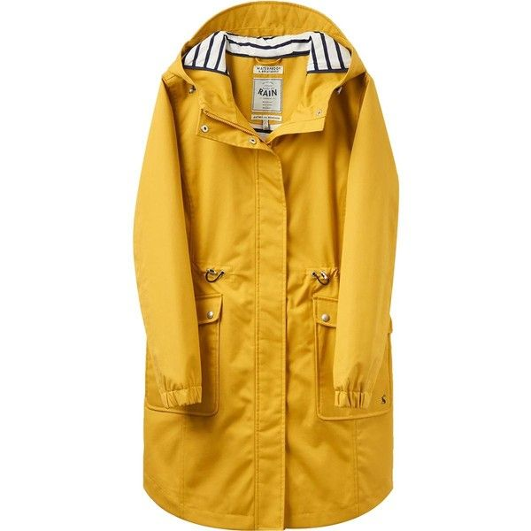 Joules Raina Coastline Jacket ($200) ❤ liked on Polyvore featuring outerwear, jackets, polyurethane jacket, parka jacket, yellow parka, pu jacket and yellow jacket