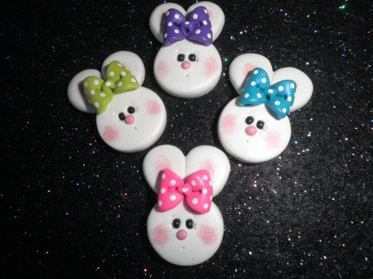 Polymer Clay Bunny-Bunny Bow Center/Pin/Magnet. $2.00, via Etsy.
