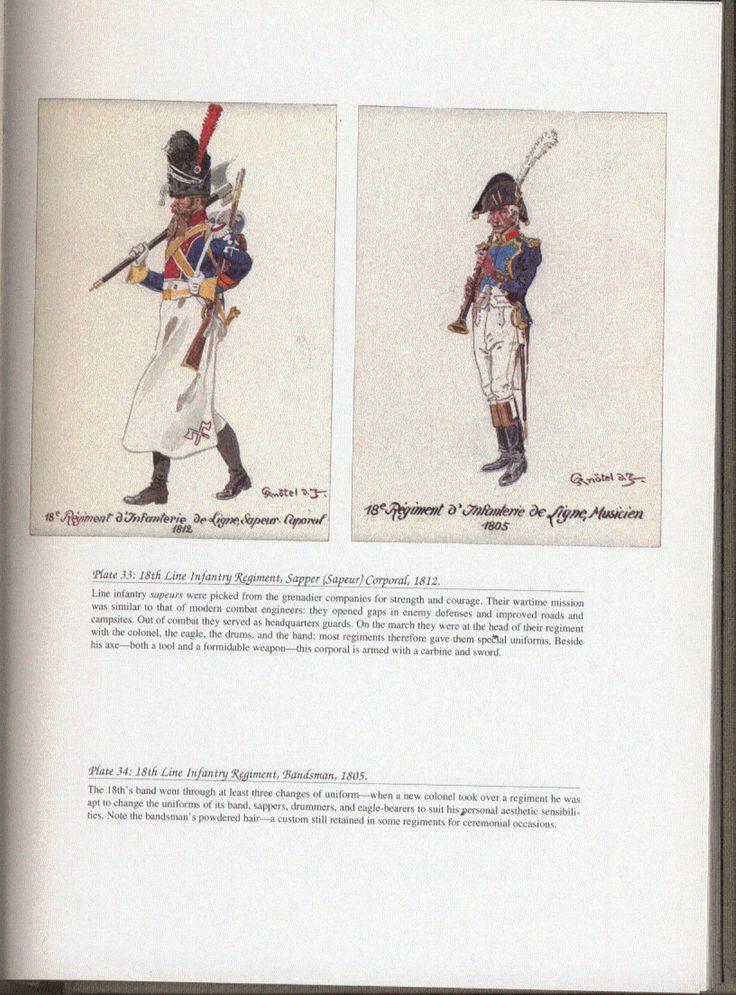 Line Infantry: Plate 33: 18th Line Infantry Regiment, Sapper (Sapeur) Corporal, 1812. + Plate 34: 18th Line Infantry Regiment, Bandsman, 1805.