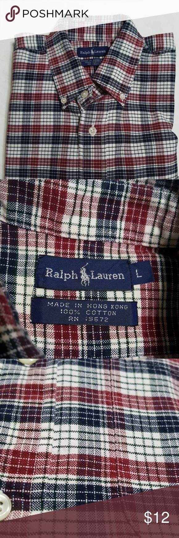 "Boys L/S button down shirt, sz L Navy, red and white plaid button down shirt with front pocket. Size large.  Measurements are approximate:  Shoulder to shoulder: 18.25"" Armpit to armpit: 21.75"" Shoulder to hem: 27"" Shoulder to cuff: 20 5/8"" Ralph Lauren Shirts & Tops Button Down Shirts"