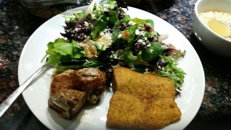Garlic roasted potatoes, Mediterranean salmon, mixed greens with feta and cranberries, and a small bowl of soup