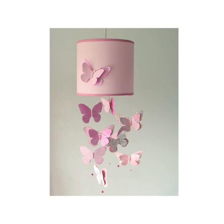 lámpara infantil techo mariposas rosa