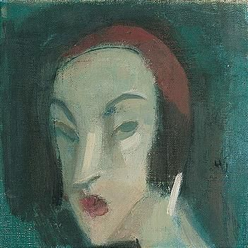 Helene Schjerfbeck, vihreataustainen neito (girl against a green background)