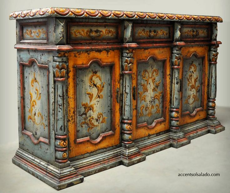 Old World Hand Painted Furniture in Turquoise and Rust. Find it at Accents of Salado.
