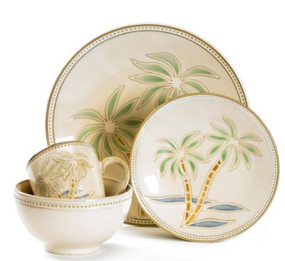 This 16 Piece Pfaltzgraff Palm Dinnerware Set Has A Palm Tree Design On All  Pieces Of