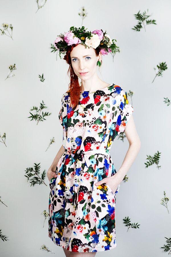 Uhana Design SS16 collection. Summer dress with belt.