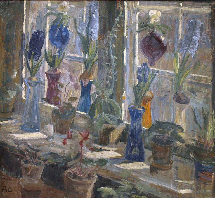 Alhed Larsen  Blomster i et vindue med solskin (Flowers in a window of sunshine), 1903. Faaborg Museum.