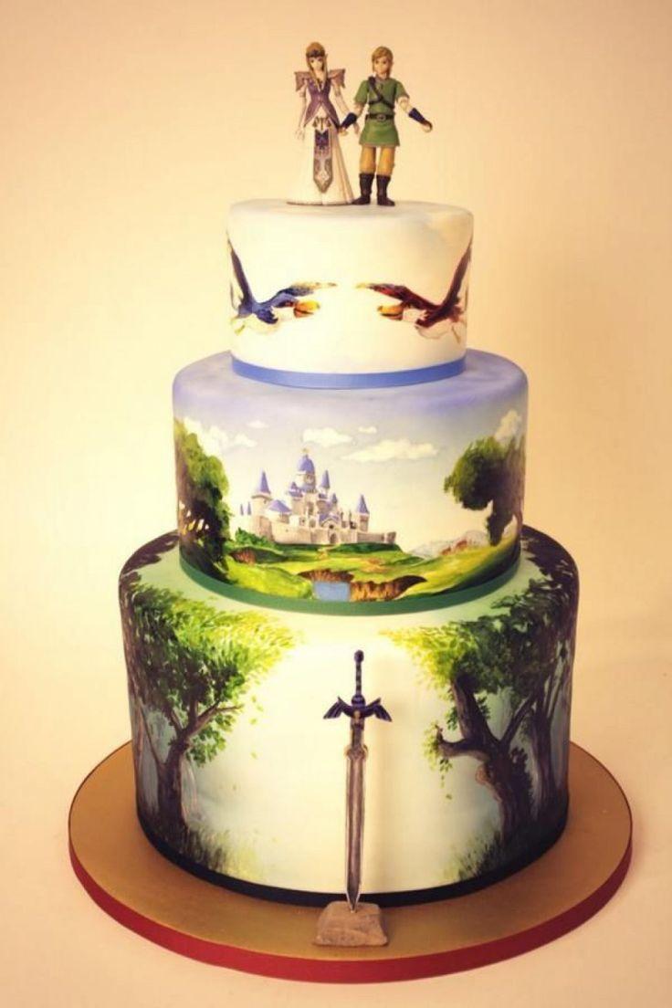 Ce gâteau Link et Zelda, en plaine d'Hyrule