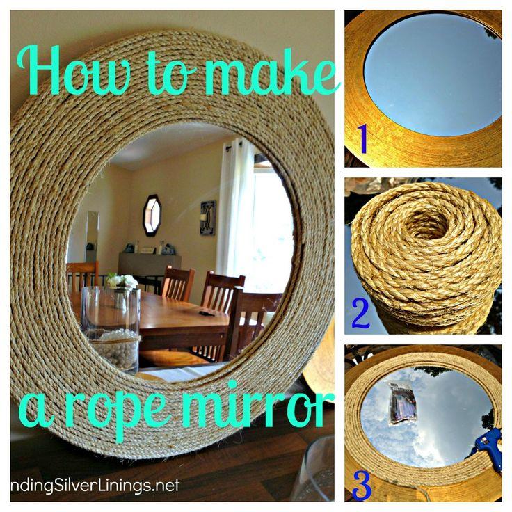 D-I-Y Rope MirrorD I I Ropes, Ropes Mirrors Diy, Projects, Diy Ropes Mirrors, Diy Crafts, Diy Tutorial, Diy Nautical, Diy Mirrors, Diy Decor