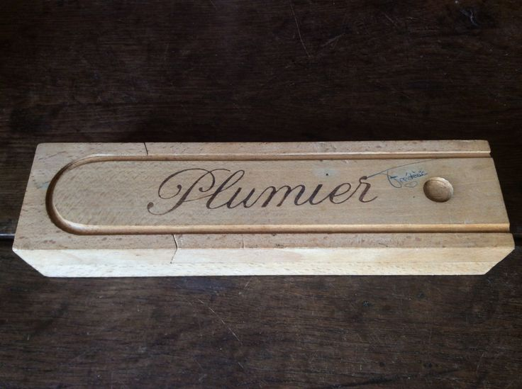 Vintage French plumier wood wooden pencil box holder with love graffiti 1980's Purchase in store here http://www.europeanvintageemporium.com/product/vintage-french-plumier-wood-wooden-pencil-box-holder-with-love-graffiti-1980s/