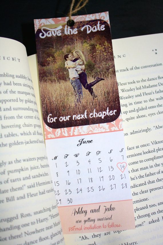 Custom Printable pink Save the Date Bookmarks - Calendar. Consider yourself booked. Literary vintage wedding.