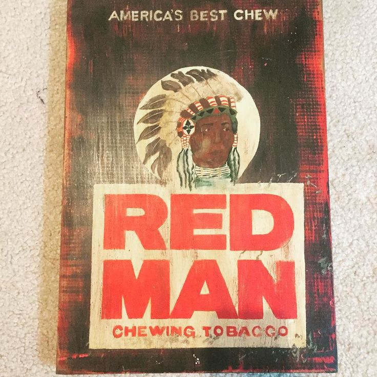 RED MAN chewing tobacco sign #etsy #handpainted #tobacco #woodsigns by therubypigetsy